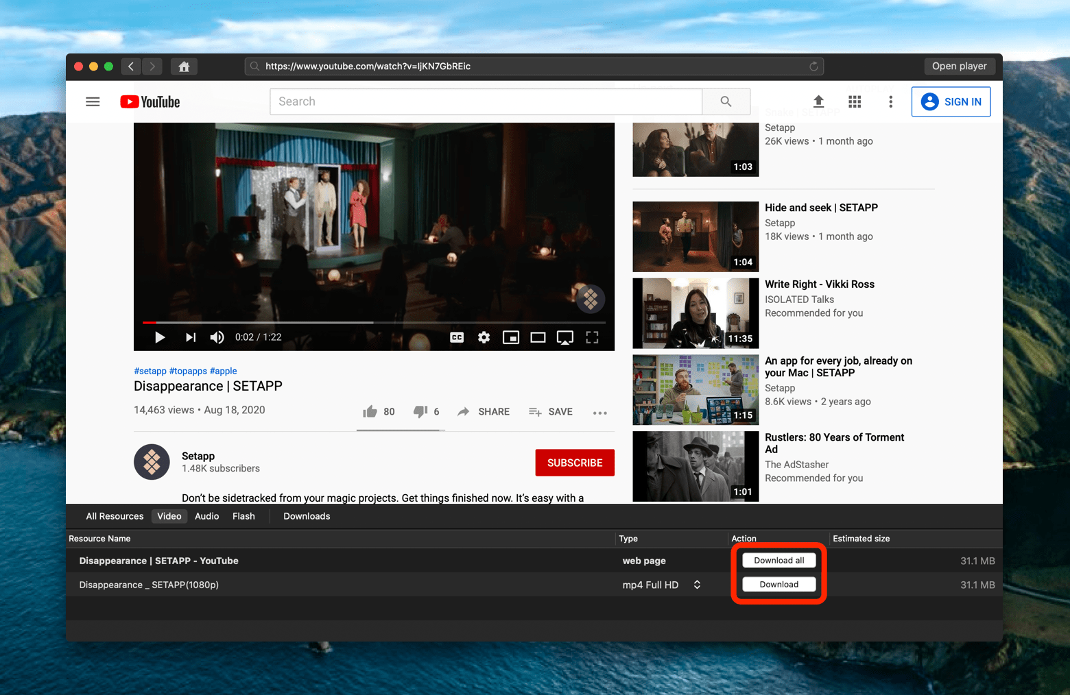 download videos from YouTube via player
