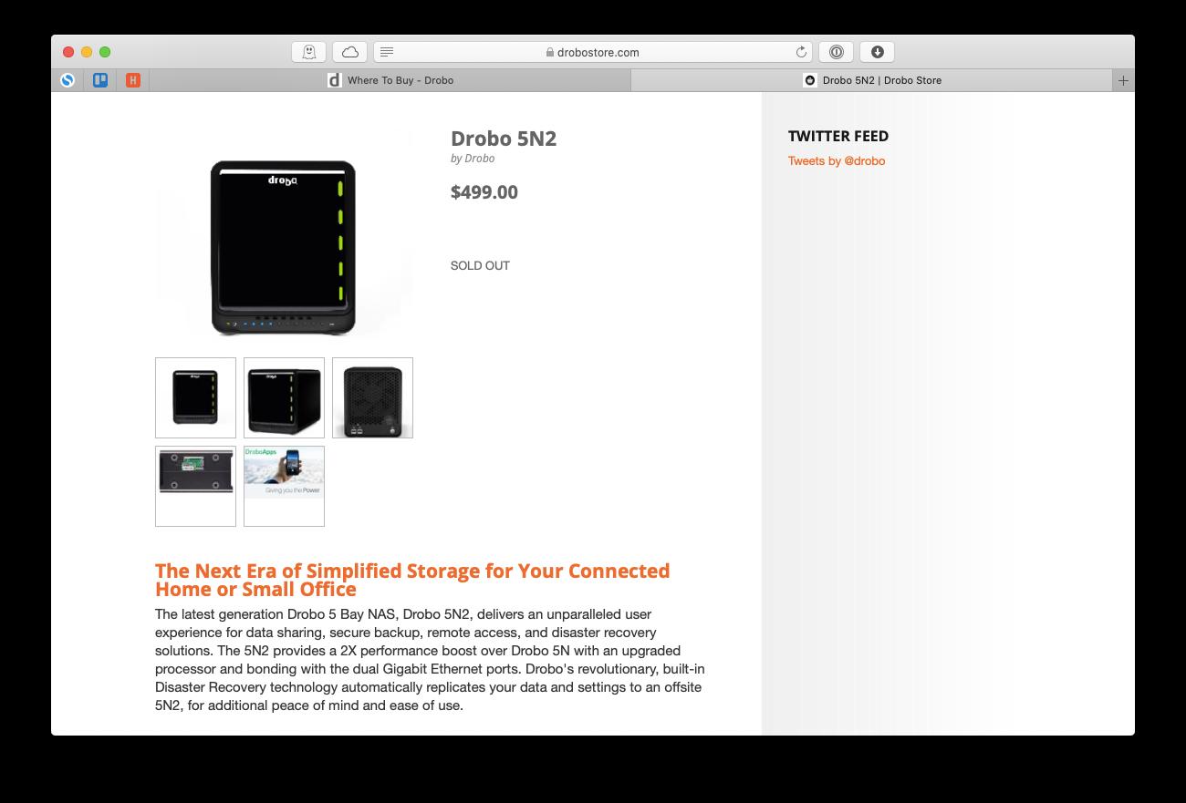 Drobo 5N2 NAS drive Mac pro