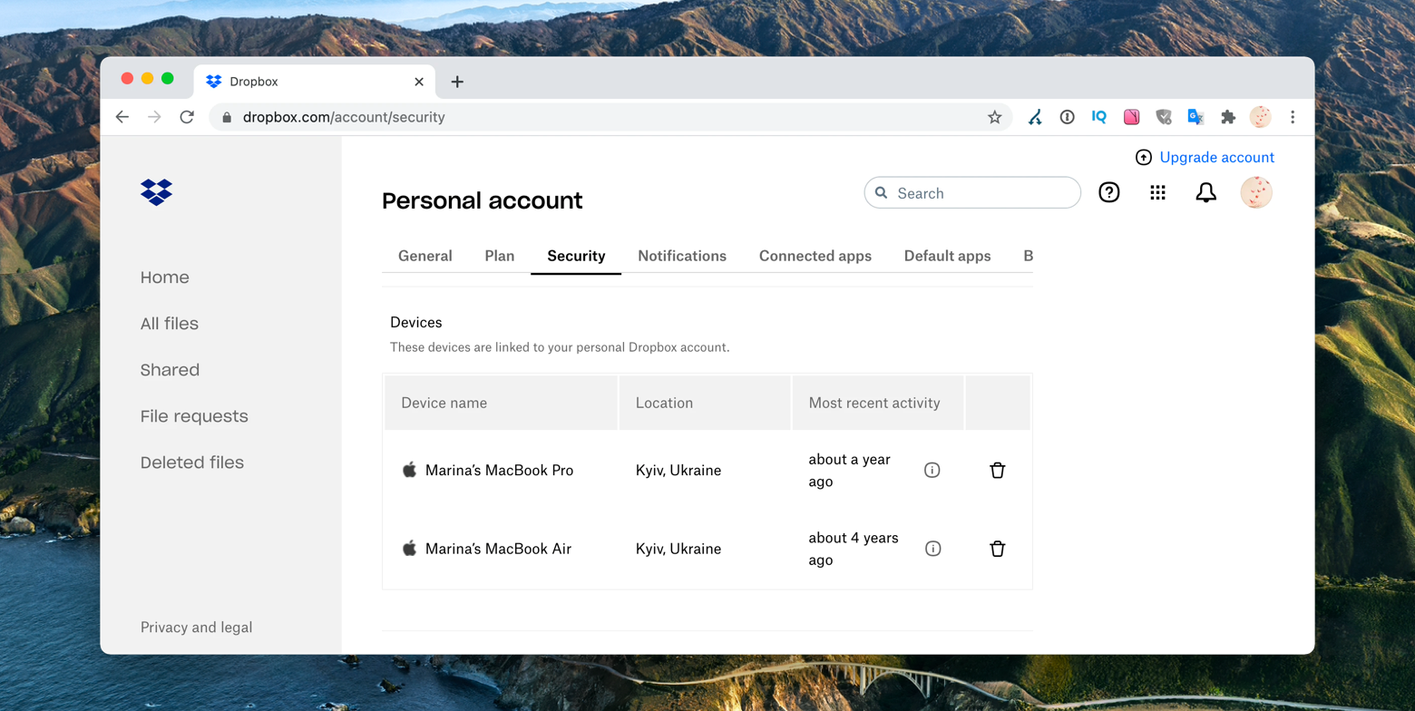see all the devices you linked to your Dropbox account