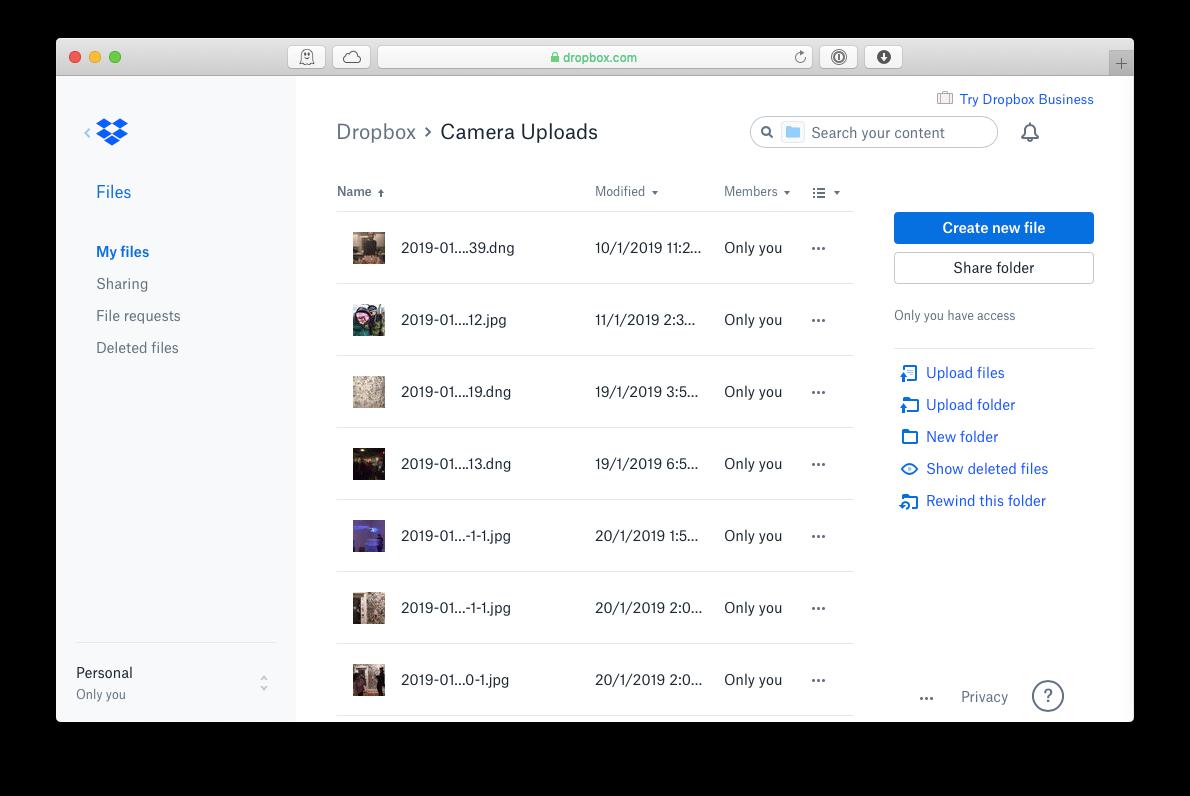 dropbox photos mac iPhone transfer