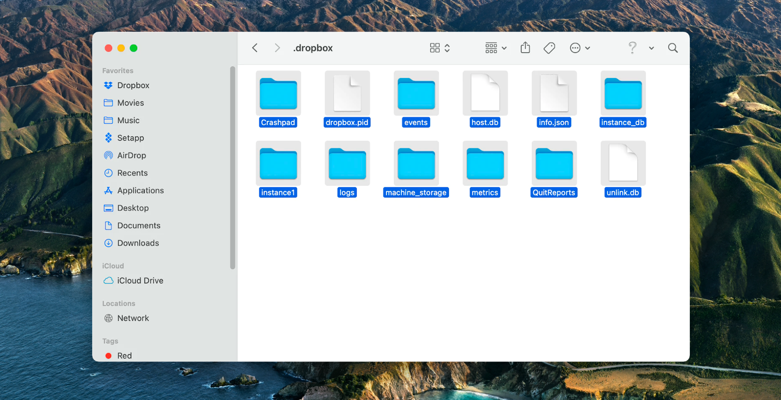 Dropbox system folder