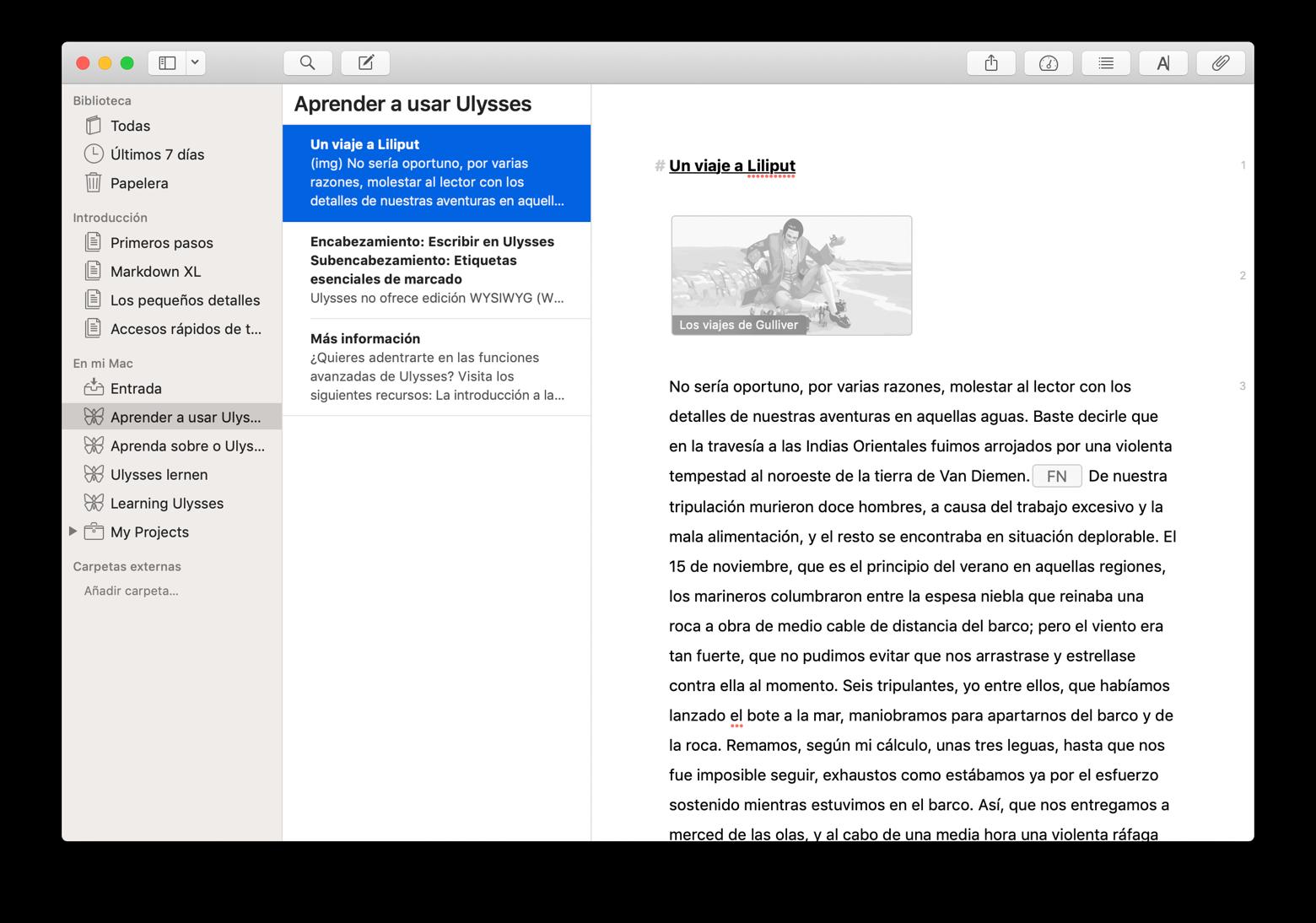 Editar texto en Ulysses