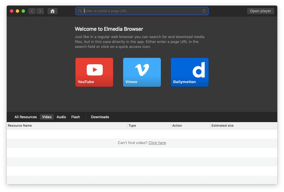 Elmedia Player download videos YouTube