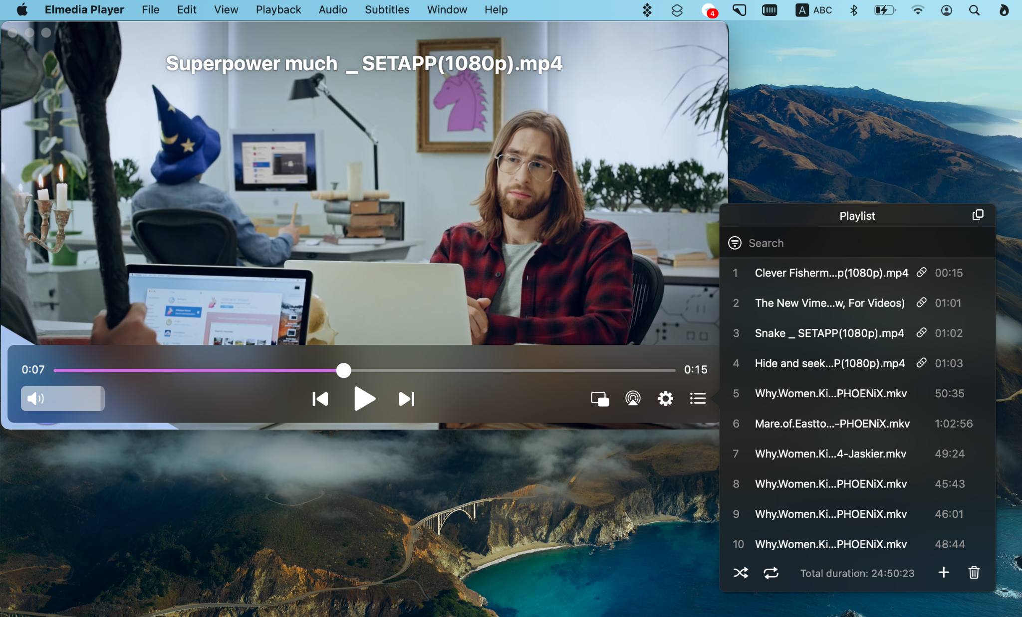 YouTube player with a playback control