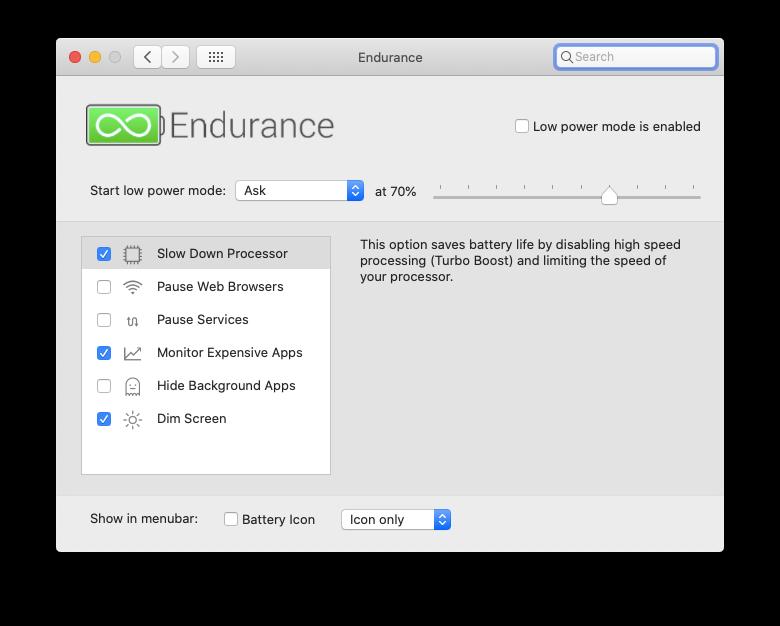 Endurance app extend battery life