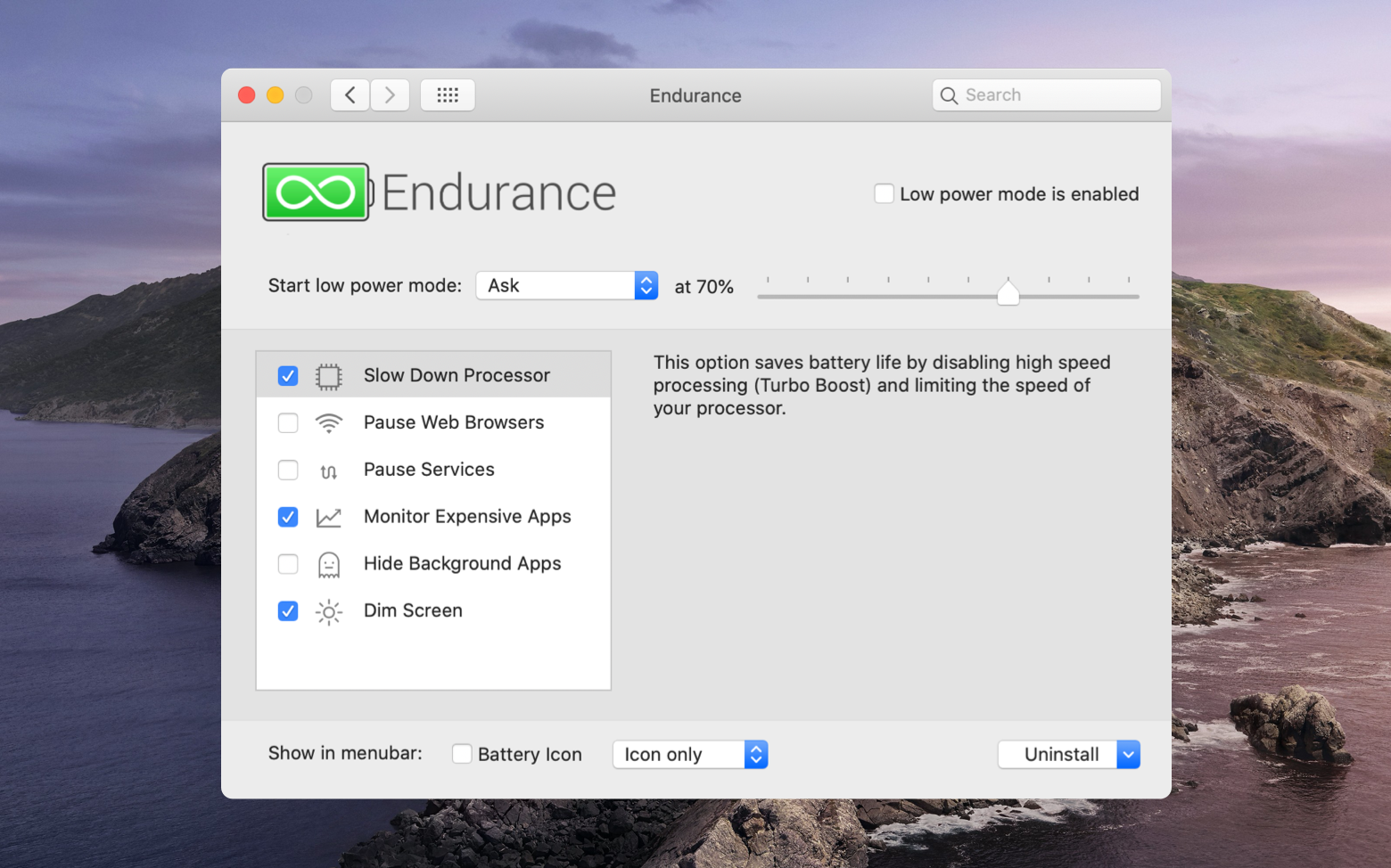 Endurance battery monitor Mac
