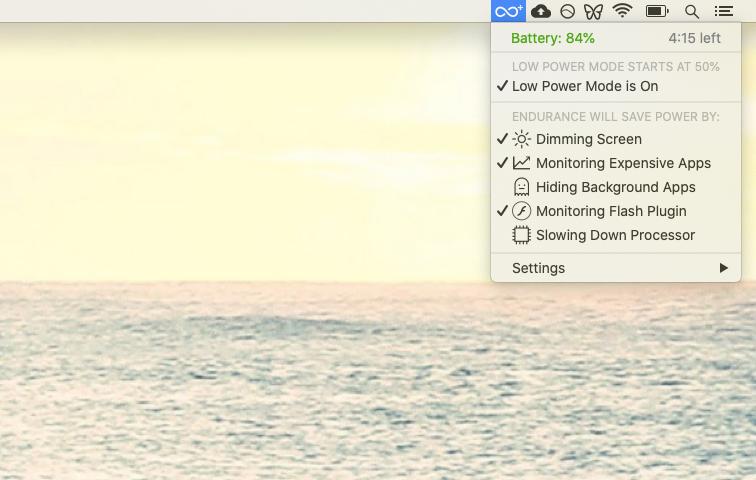 Endurance battery life extender Mac app