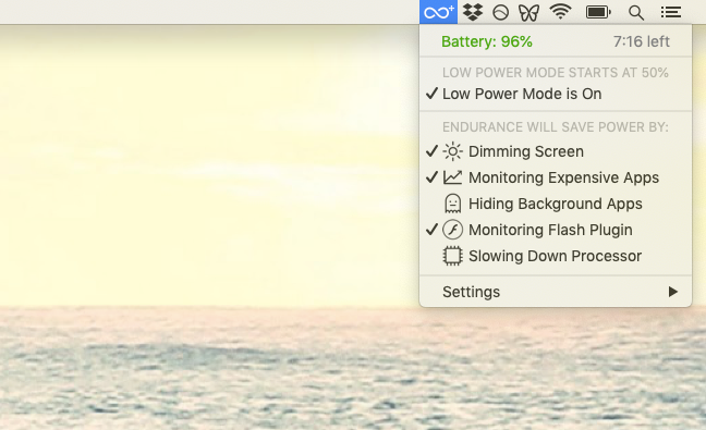 Endurance energy save Mac app