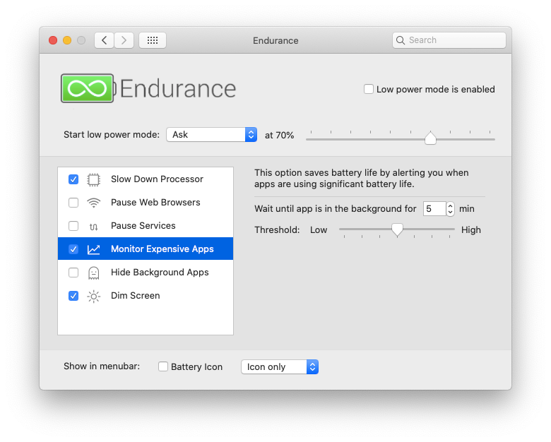 Endurance Mac app extend battery