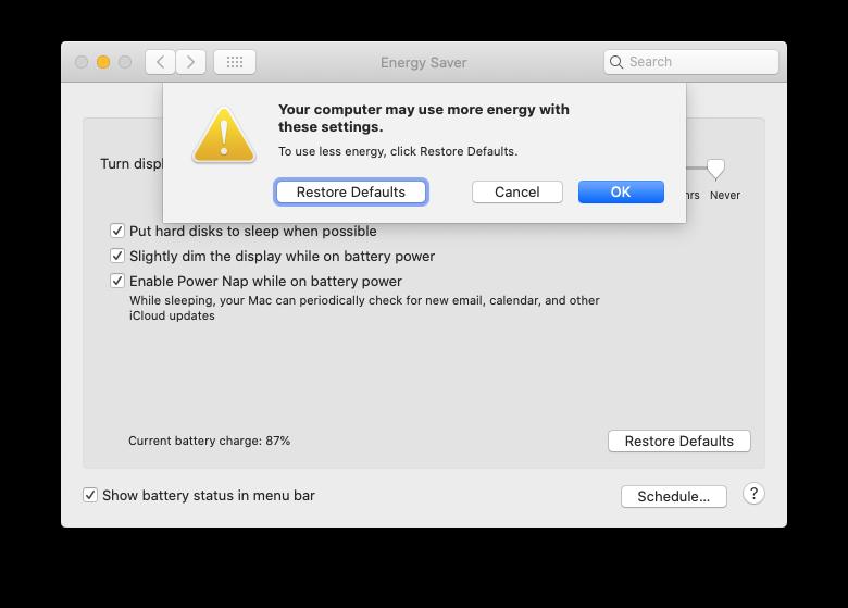 energy saver mac sleep turn off