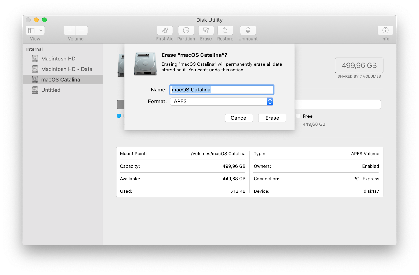 Erase your startup disk with macOS Catalina