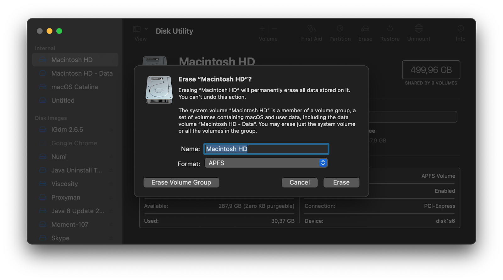 erase your startup drive with Disk Utility
