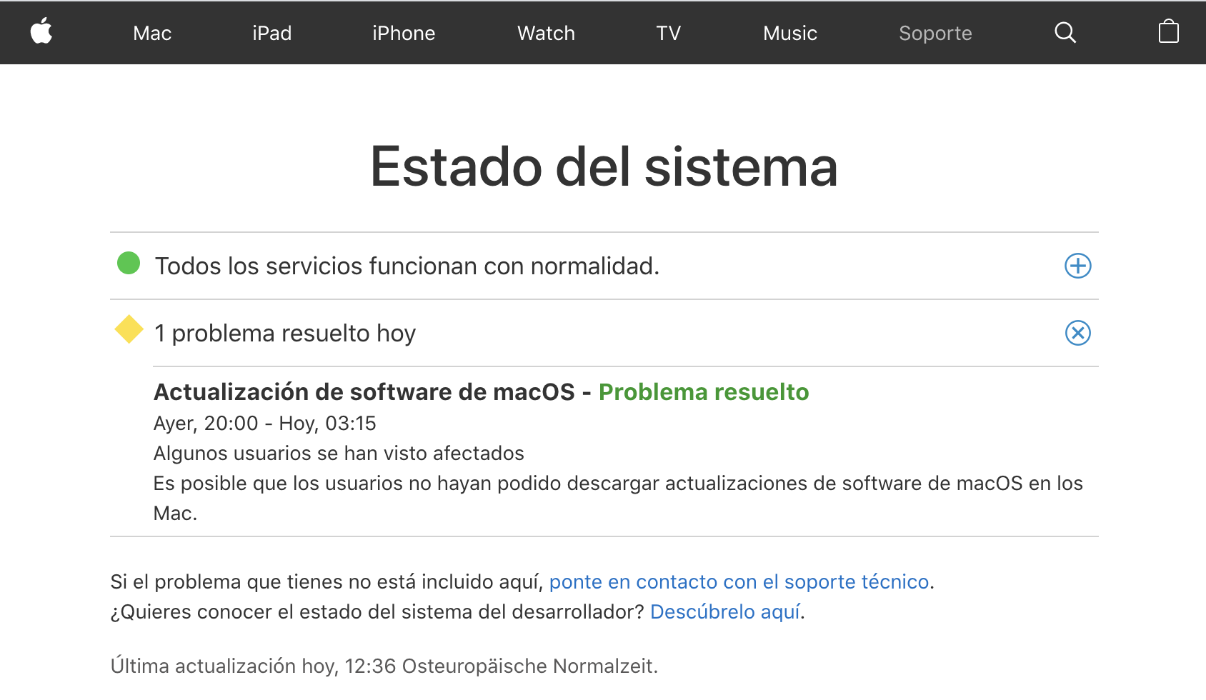 Apple's system status page