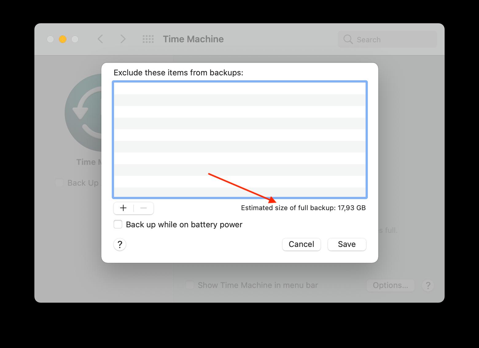 estimated time machine backup size