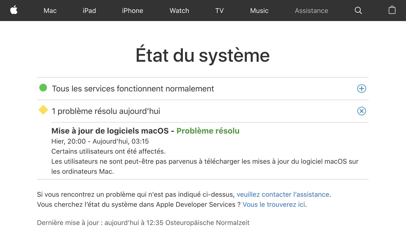 Page d'état des systèmes d'Apple