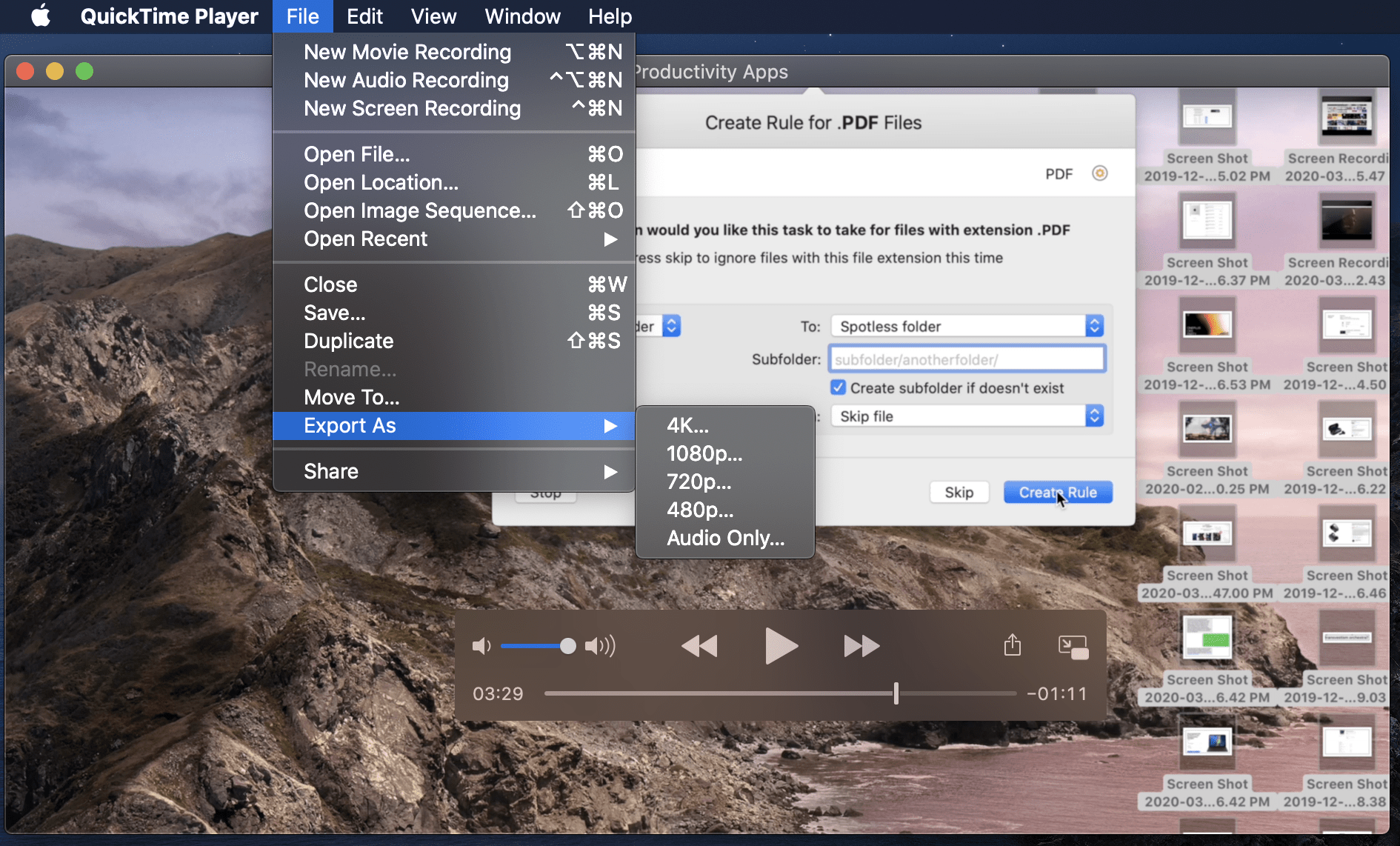 Export .mov in QuickTime Player