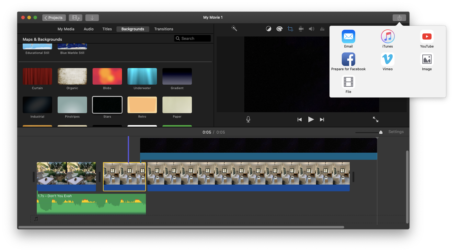 export movie iMovie