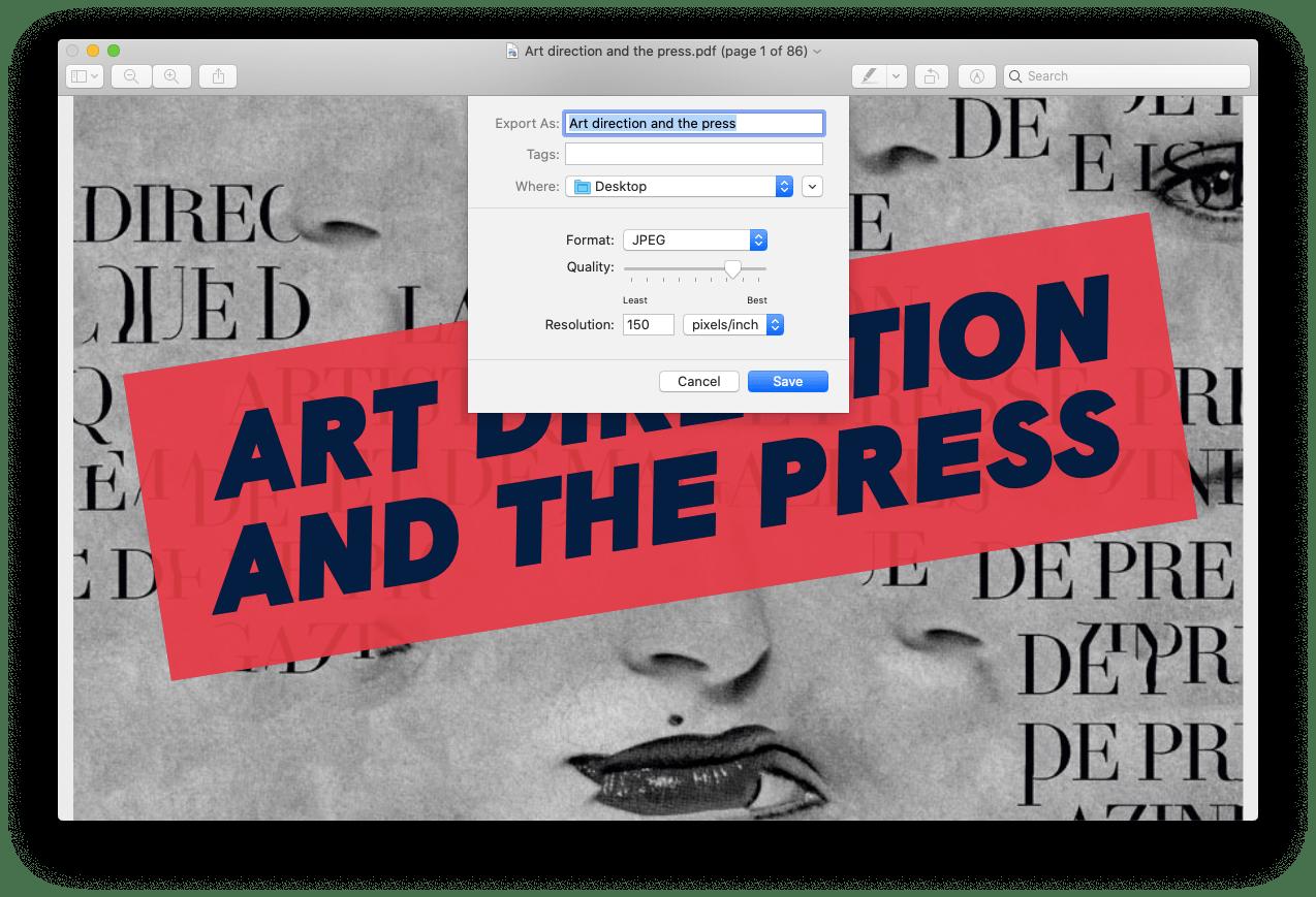 export PDF JPG Preview Mac