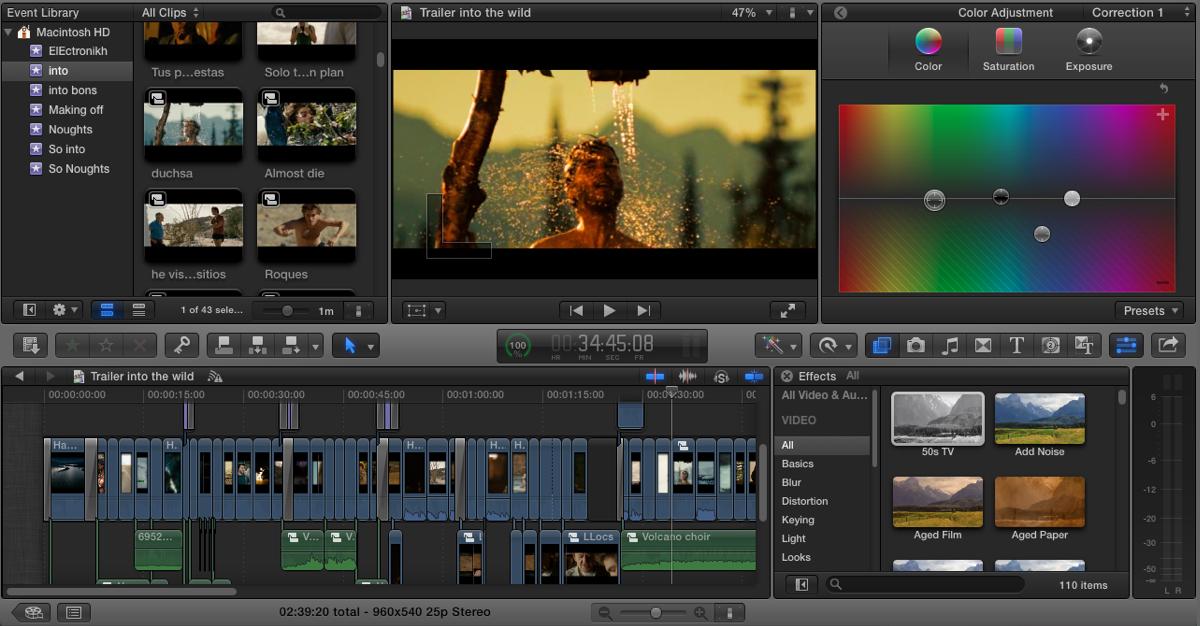 Final Cut Pro X editing