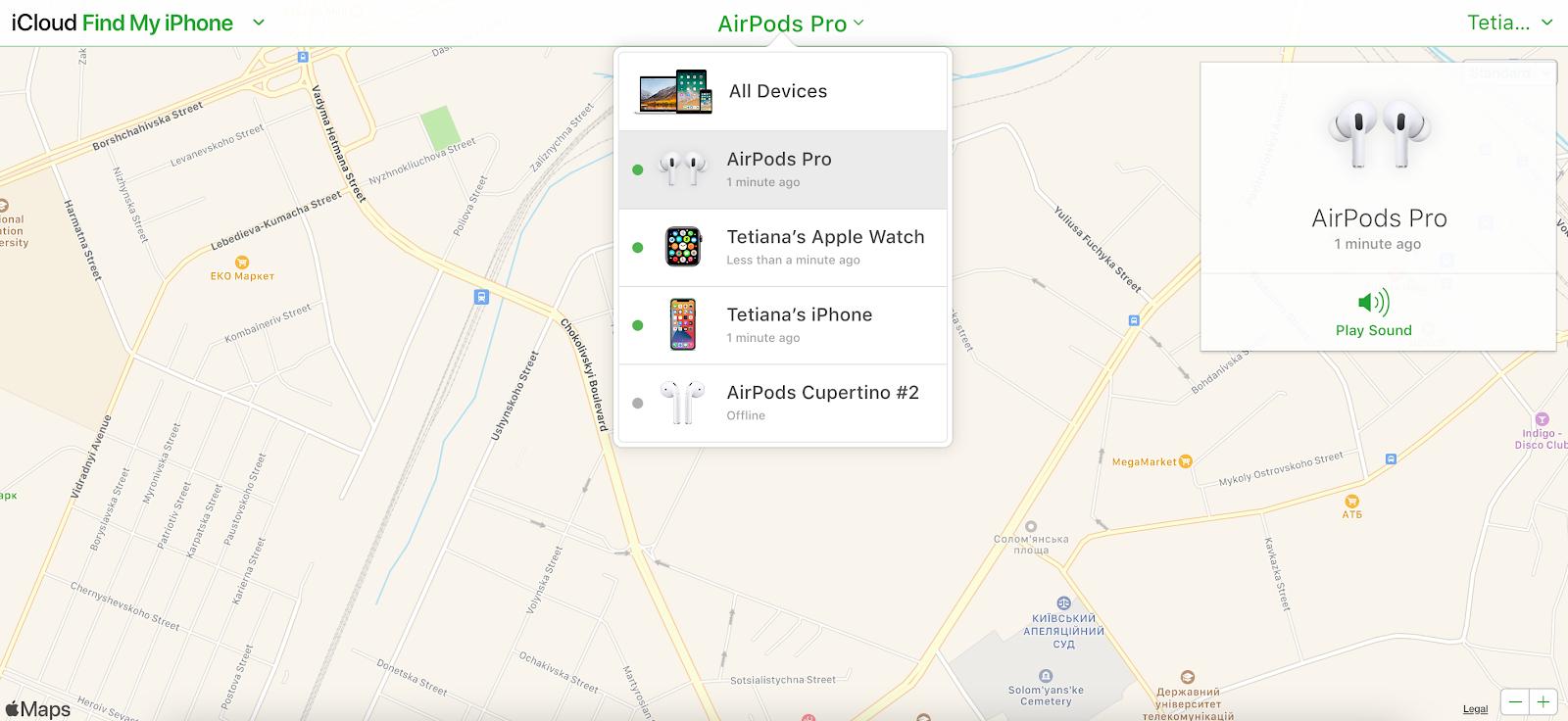 find airpods via icloud