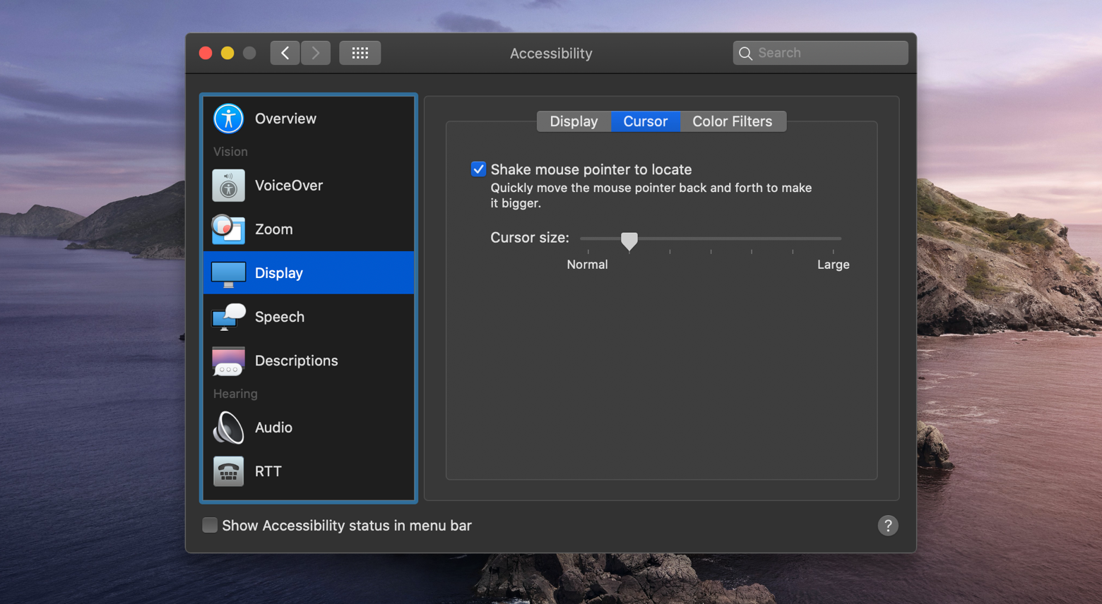 fins Mac cursor system preferences