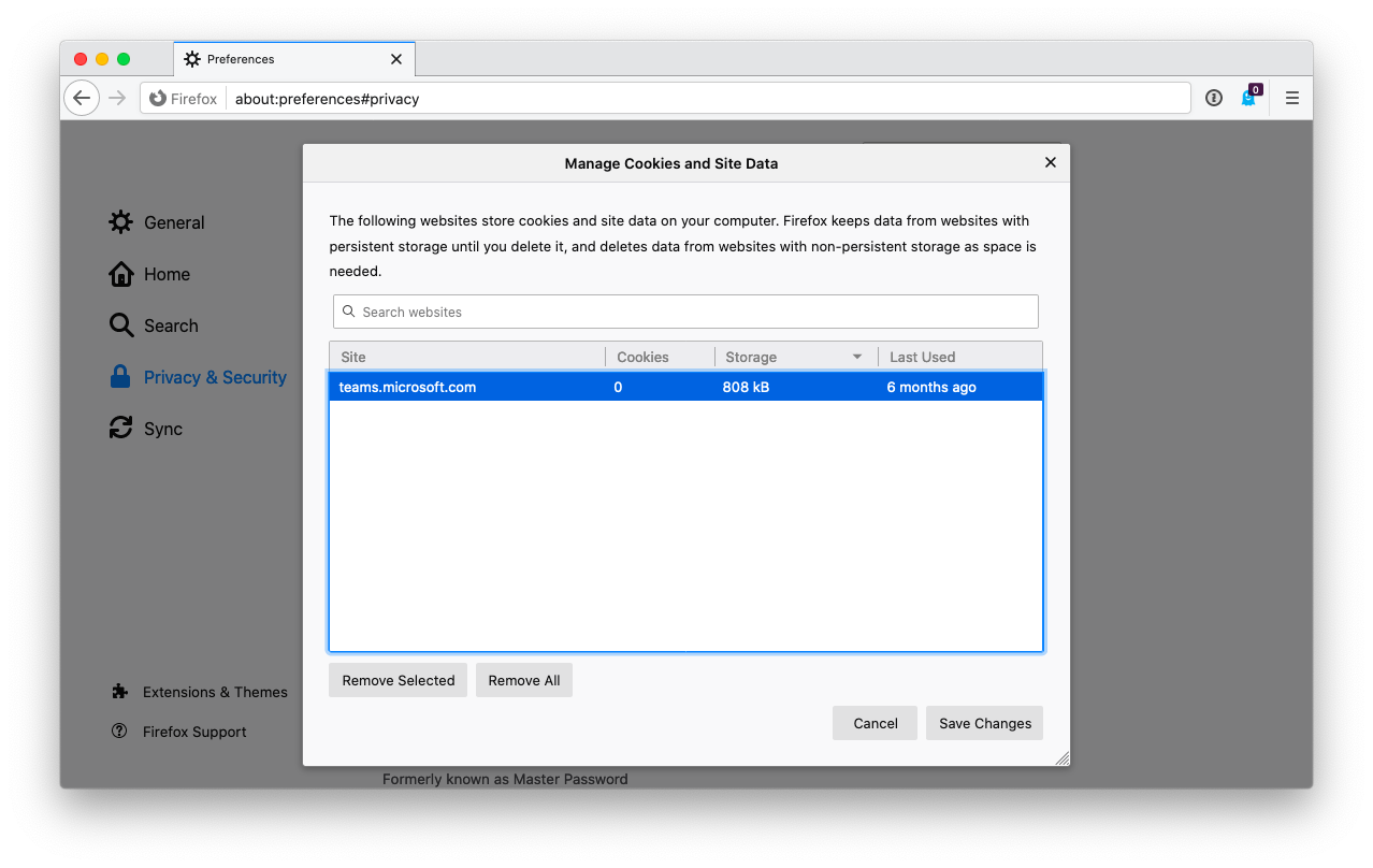 Manage cookies in Firefox