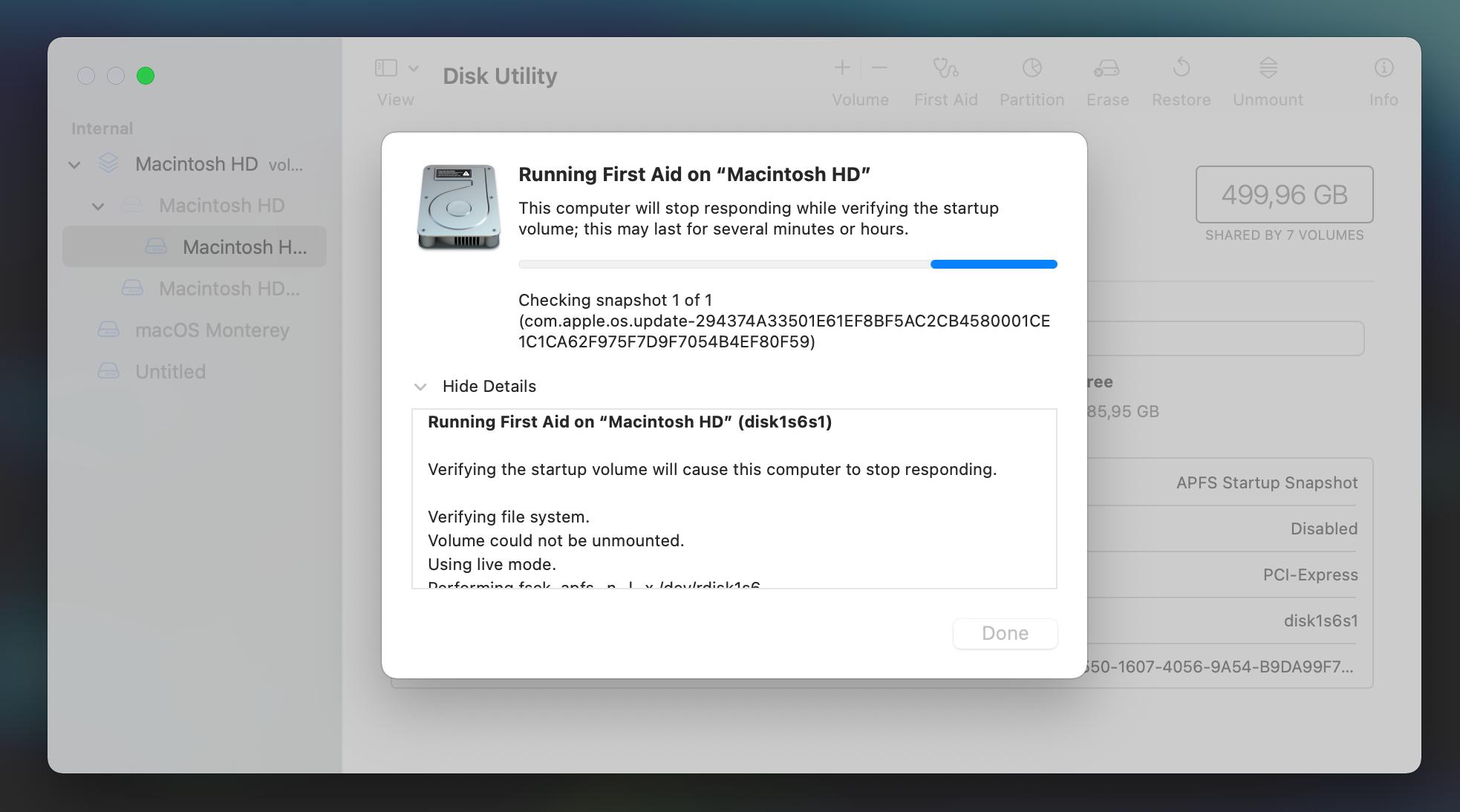 "Running First Aid on ""Macintosh HD"""