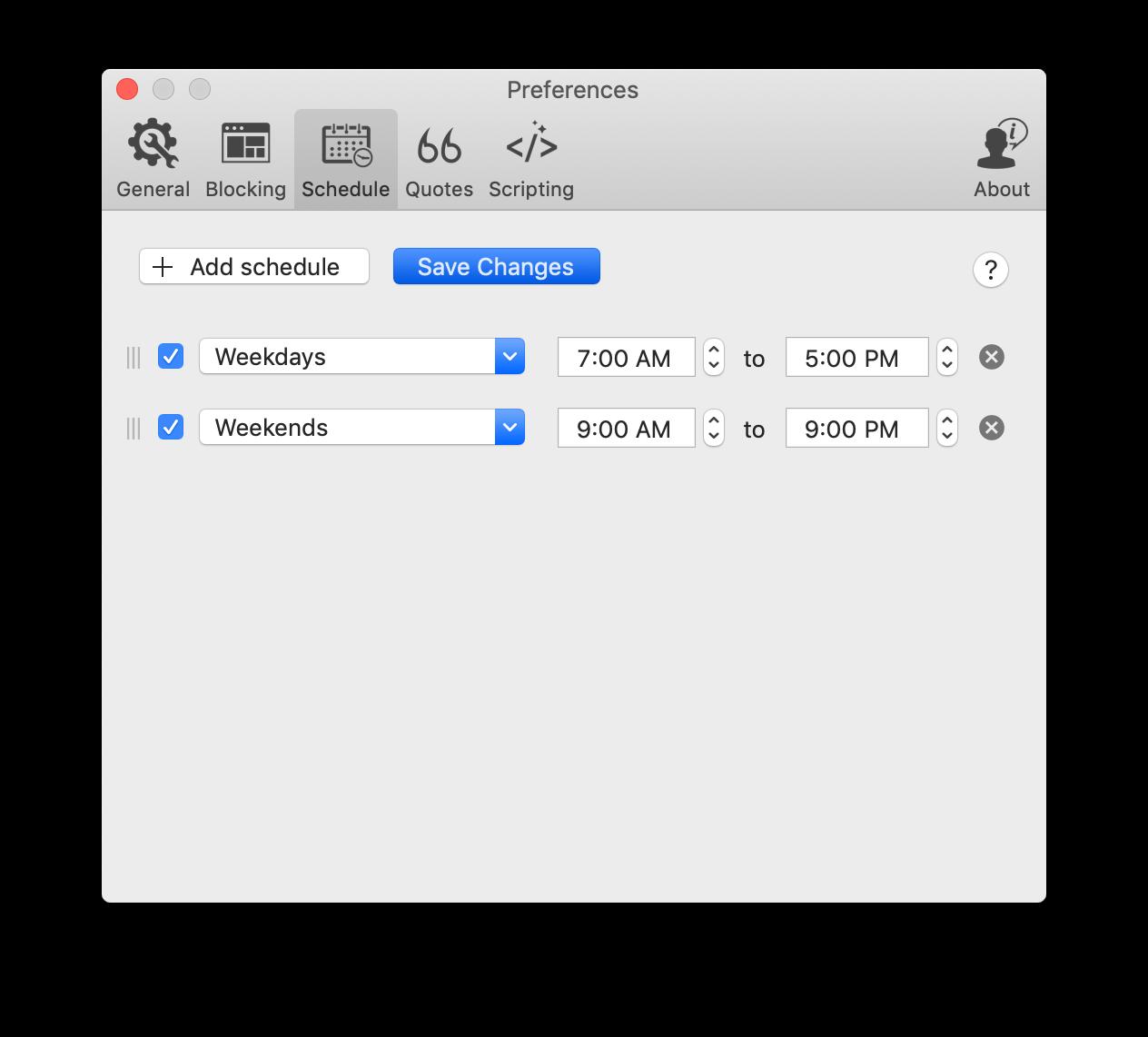 Focus schedule website blocker