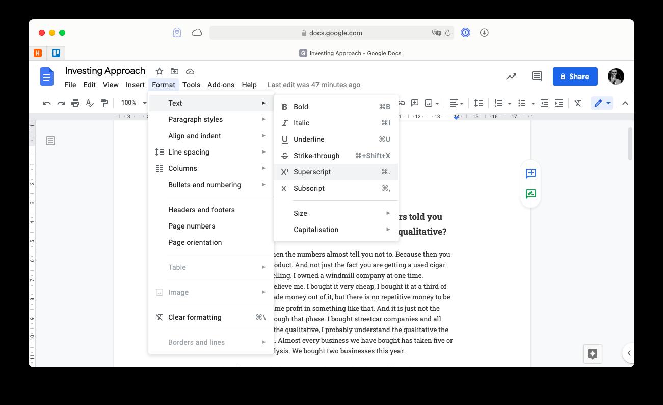 Superscript or subscript menu option