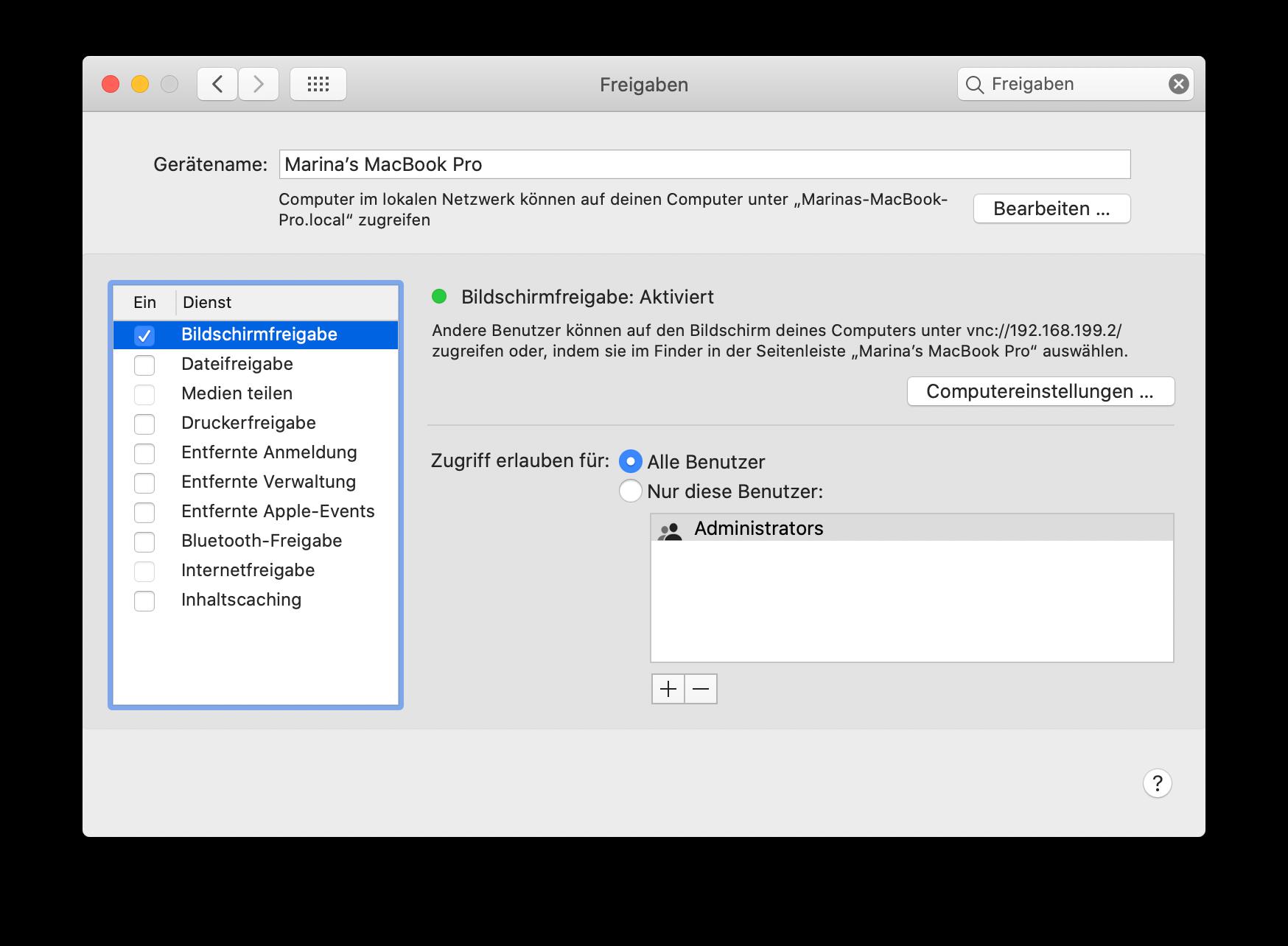 Bildschirmfreigabe auf deinem Mac aktivieren