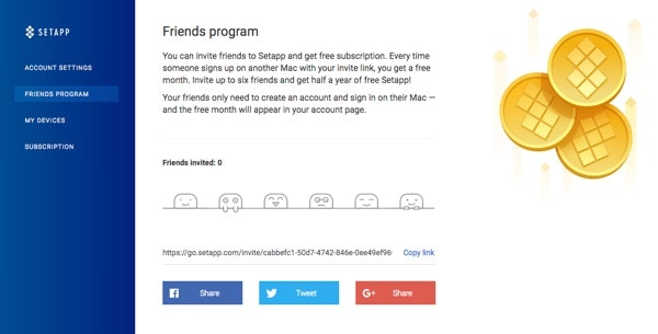 Invite up to six friends and get half a year of free Setapp!