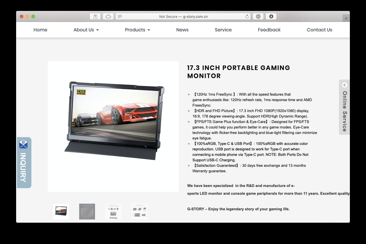 G-STOR portable monitor 17-inch gaming Mac