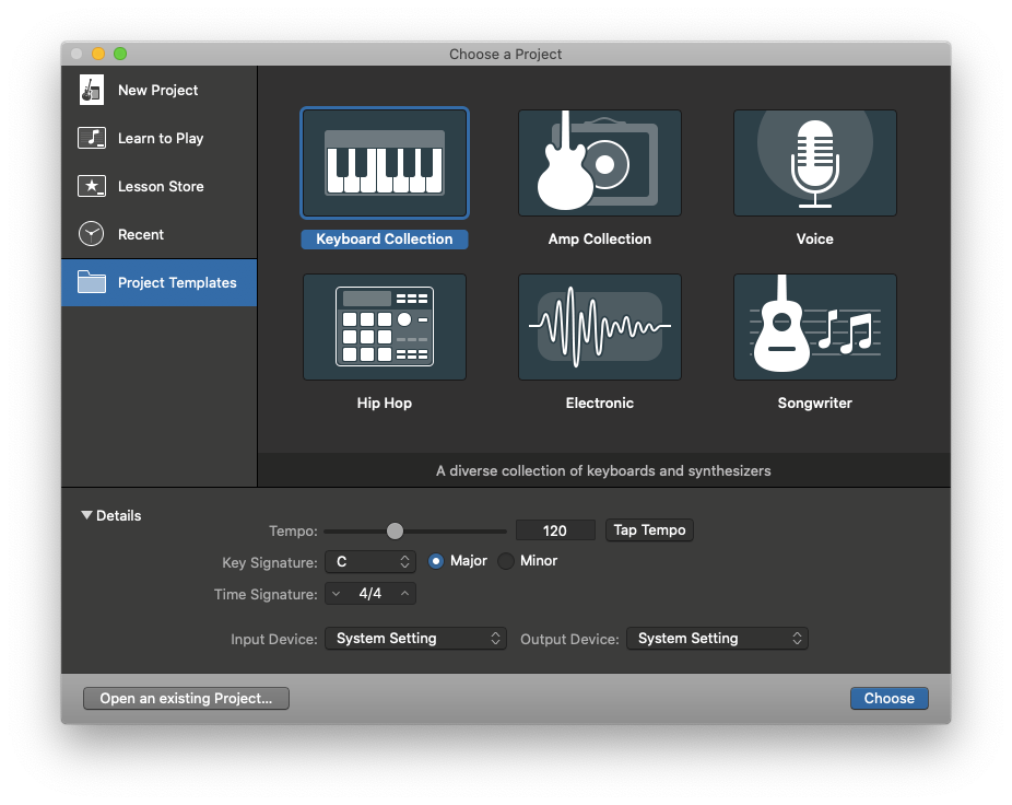 GarageBand choose project template Mac