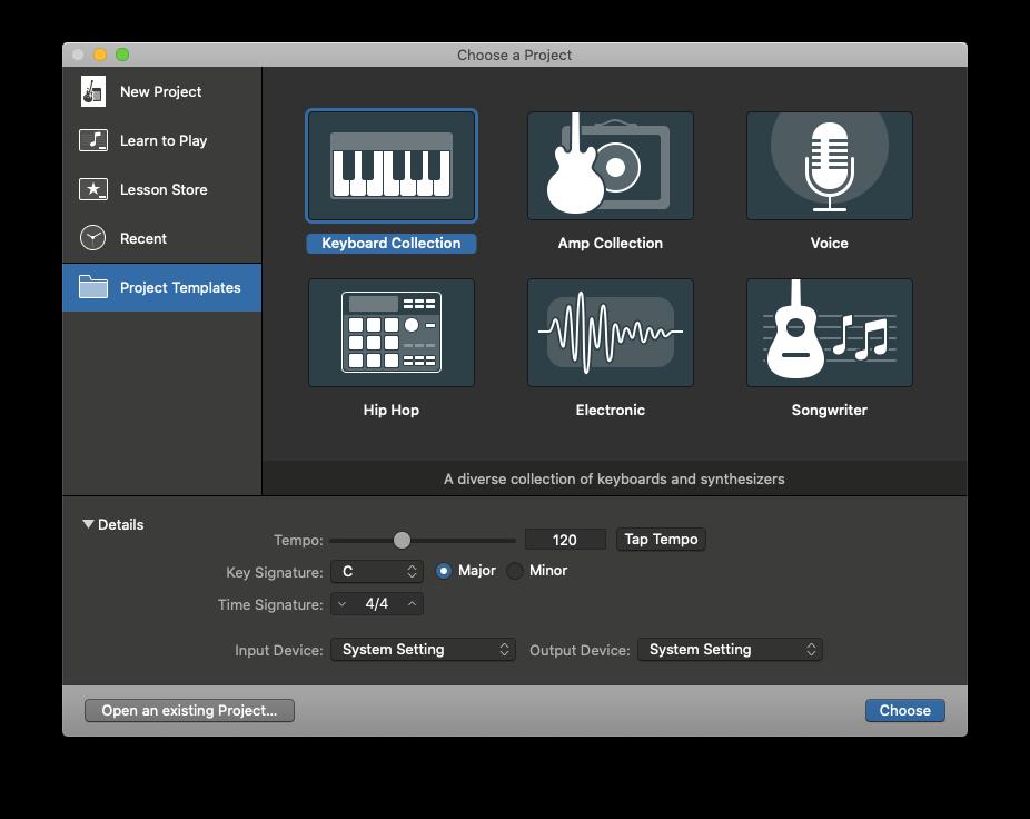 GarageBand choose project template Mac