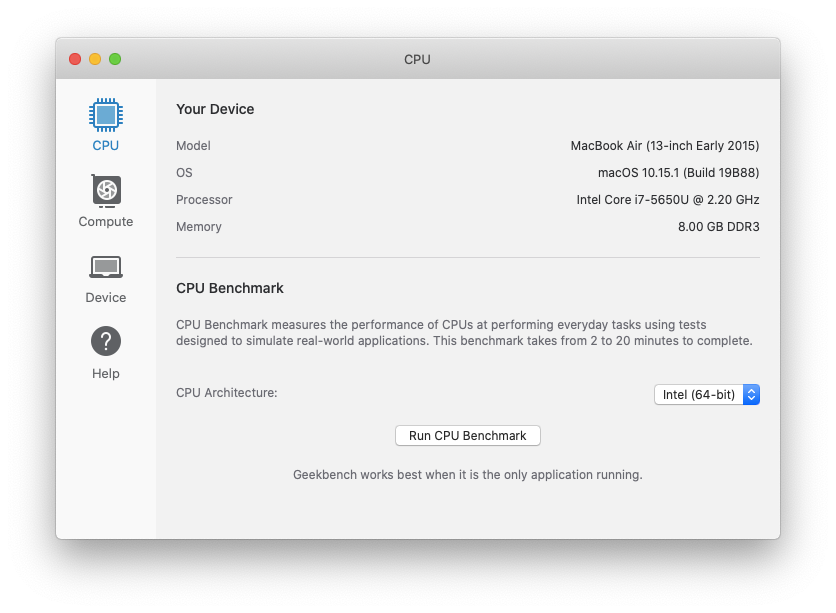 Geekbench CPU GPU benchmark test Mac