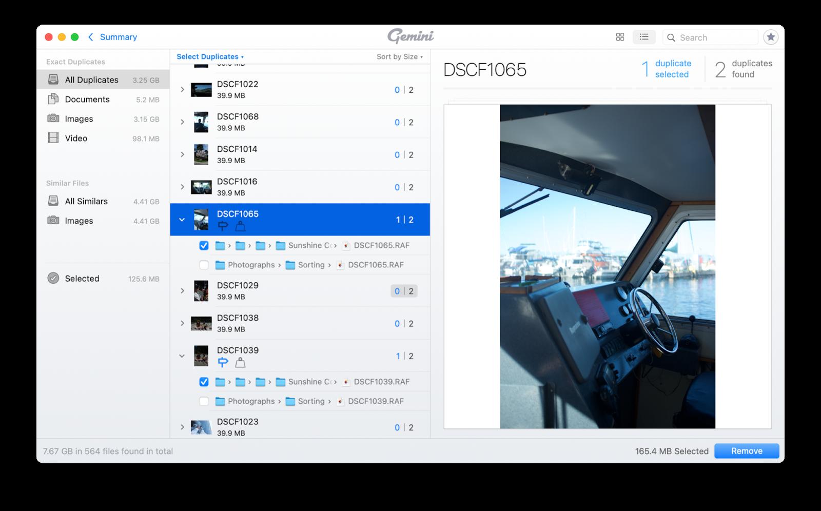 Gemini duplicate files finder