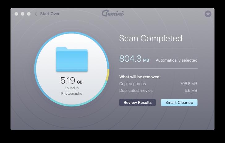 Gemini find duplicates photos files Mac