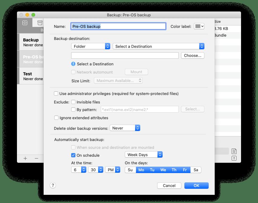 Get Backup Pro settings Mac