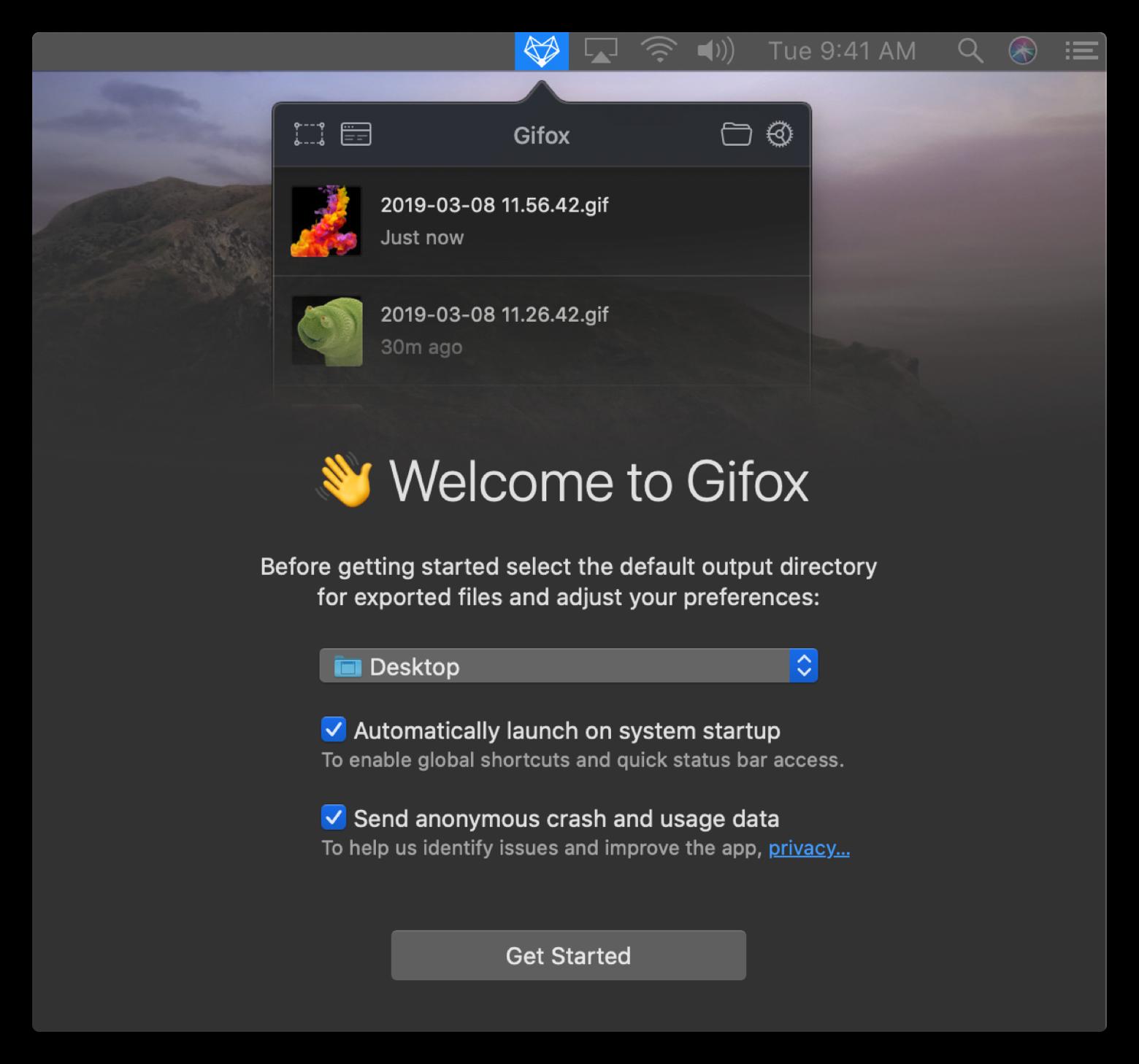 Gifox Setapp start screen