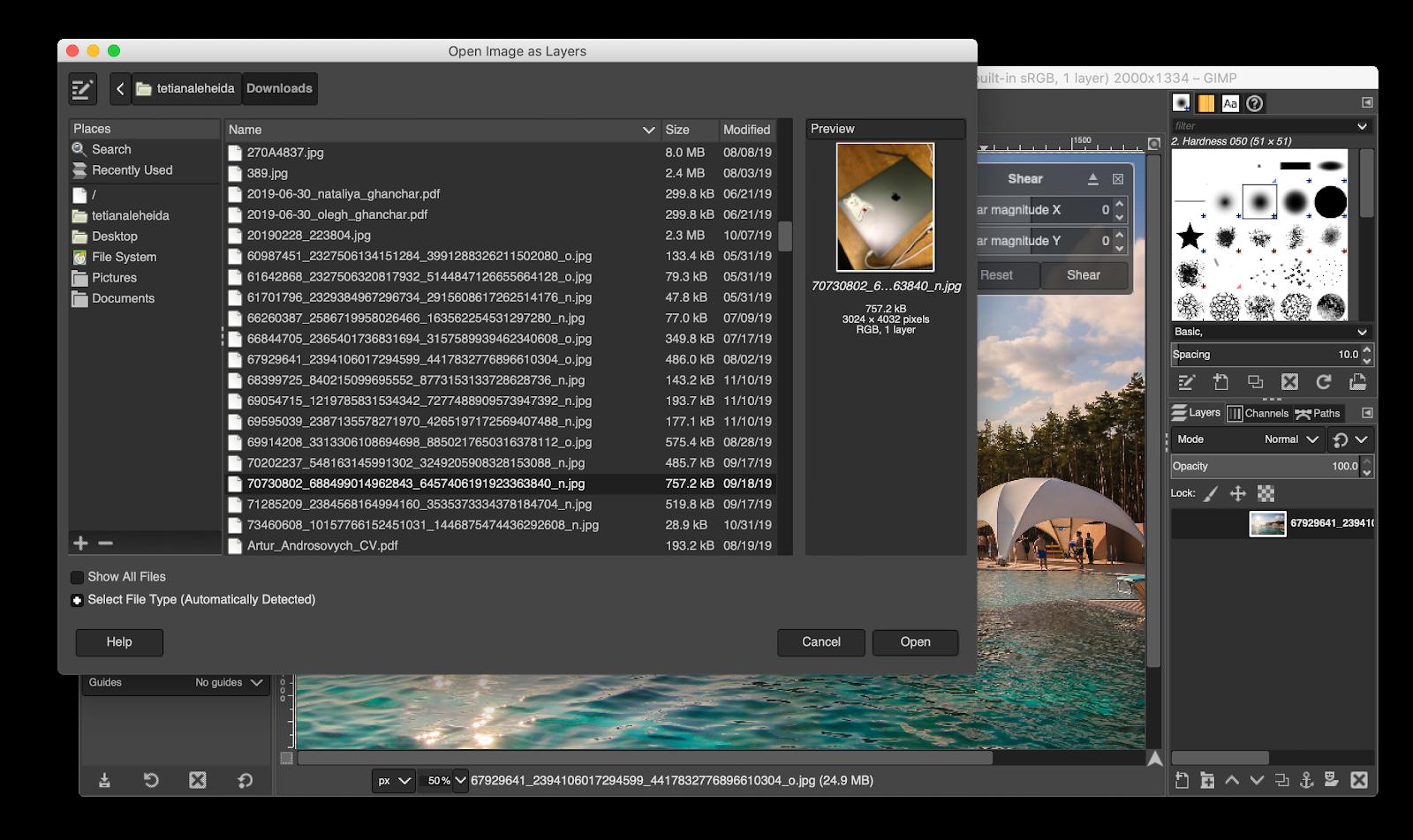 GIMP open file
