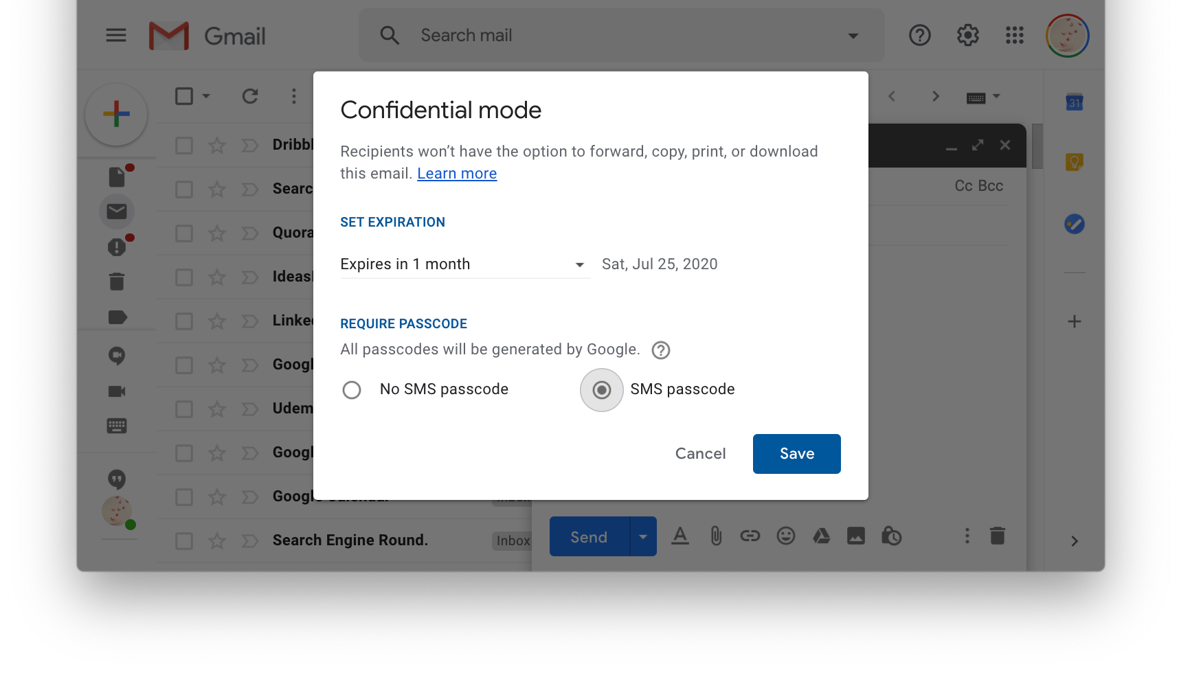 Gmail's confidential mode settings