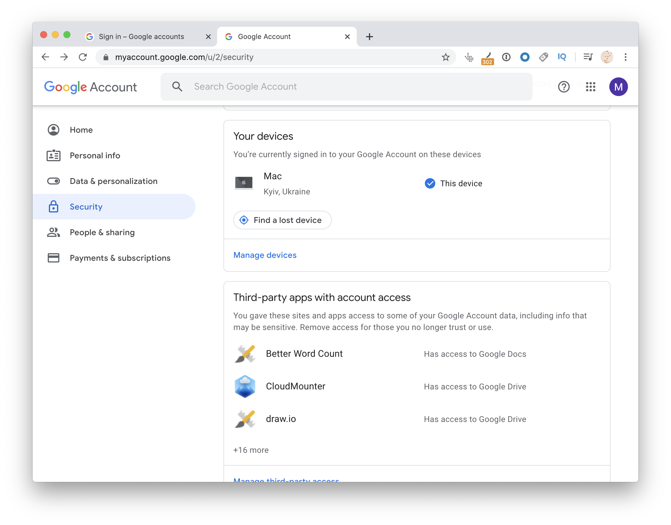 Devices connected to your gmail account