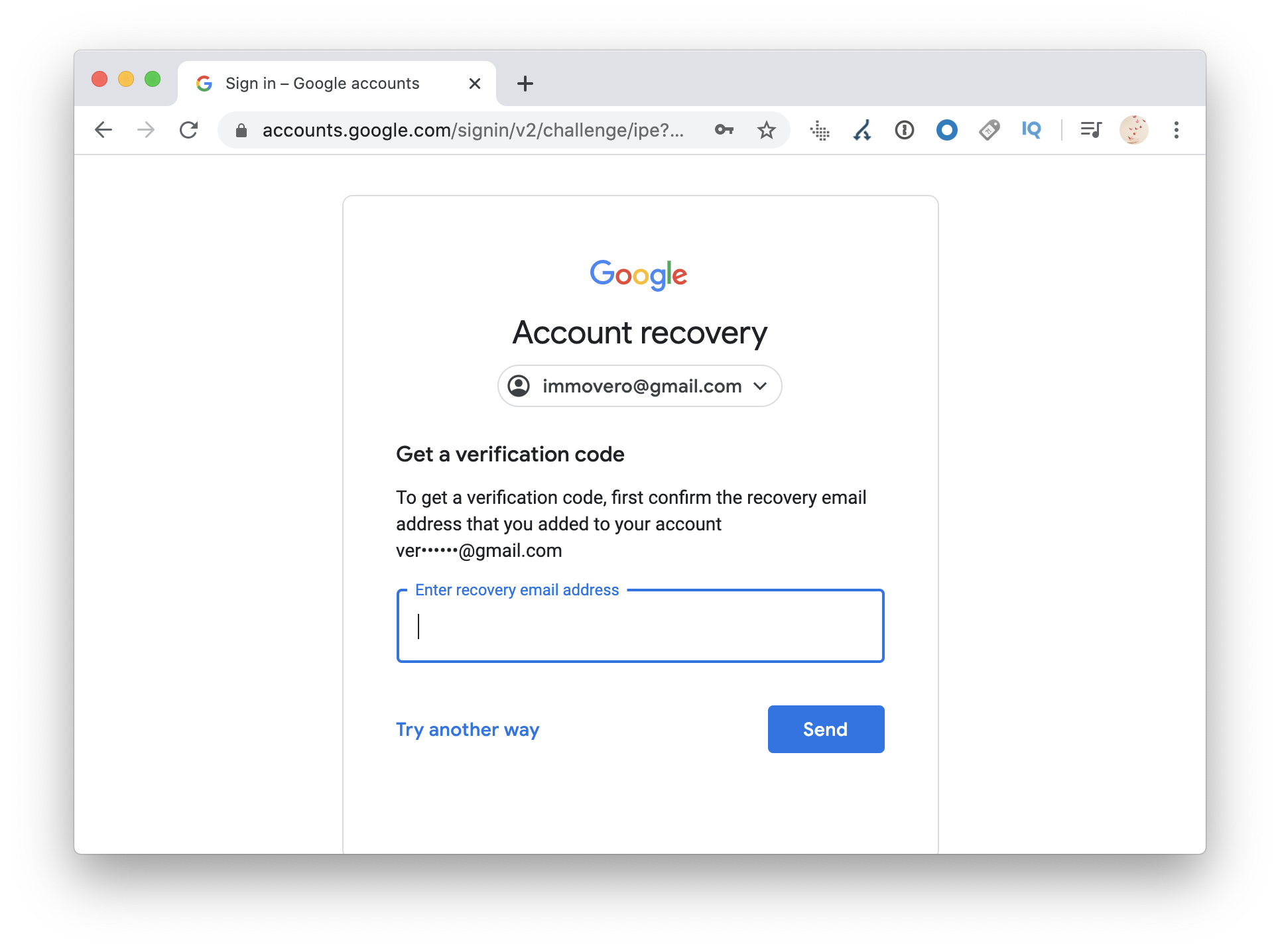 Recover account with verification code