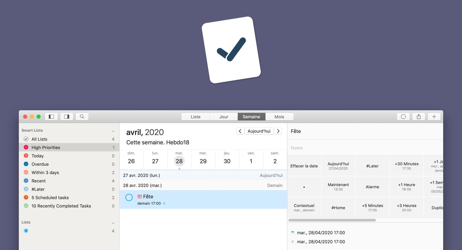 GoodTask : Un gestionnaire de tâches macOS intelligent
