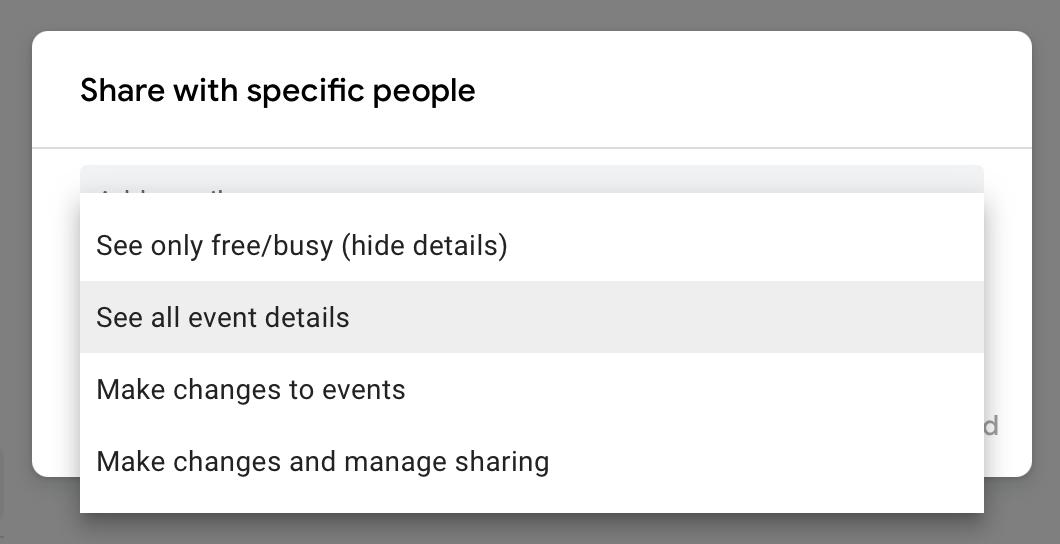 share google calendar with permissions