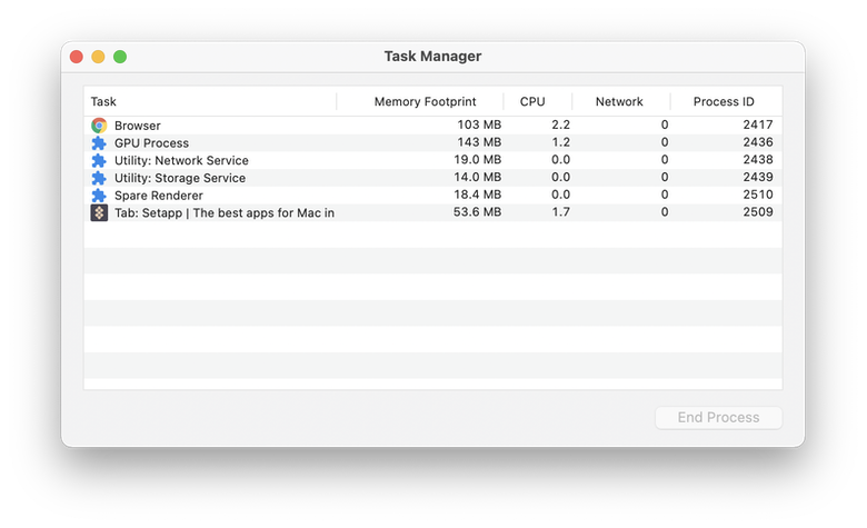 compare RAM consuming in Task Manager