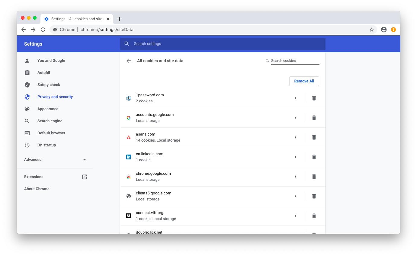 Manage cookies in Chrome