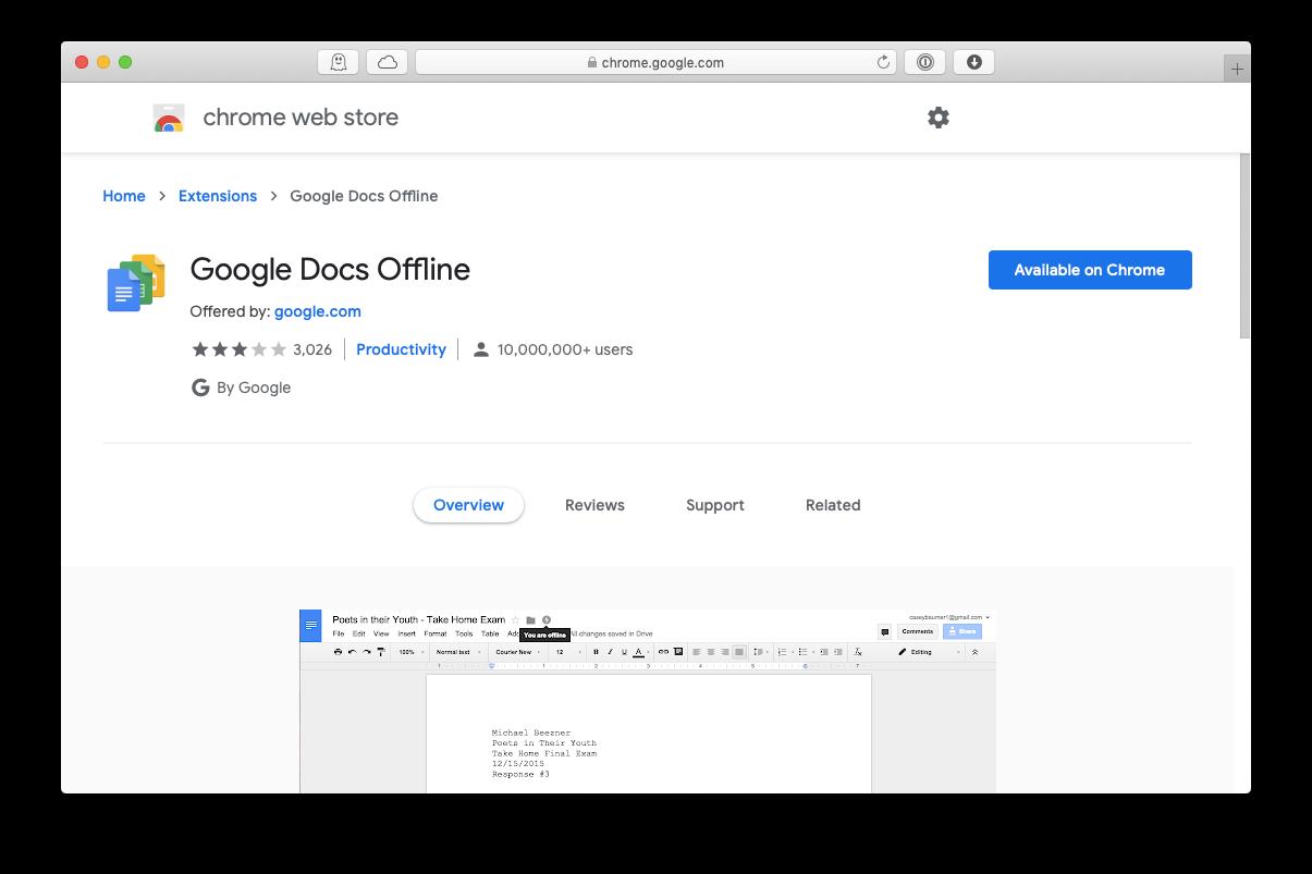 google docs offline chrome