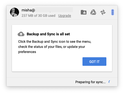 google drive sync menu bar icon