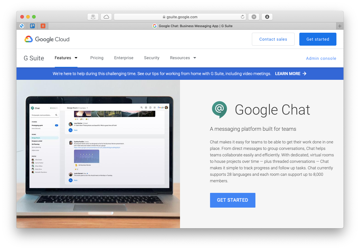 Google Hangouts Chat Meet app Mac